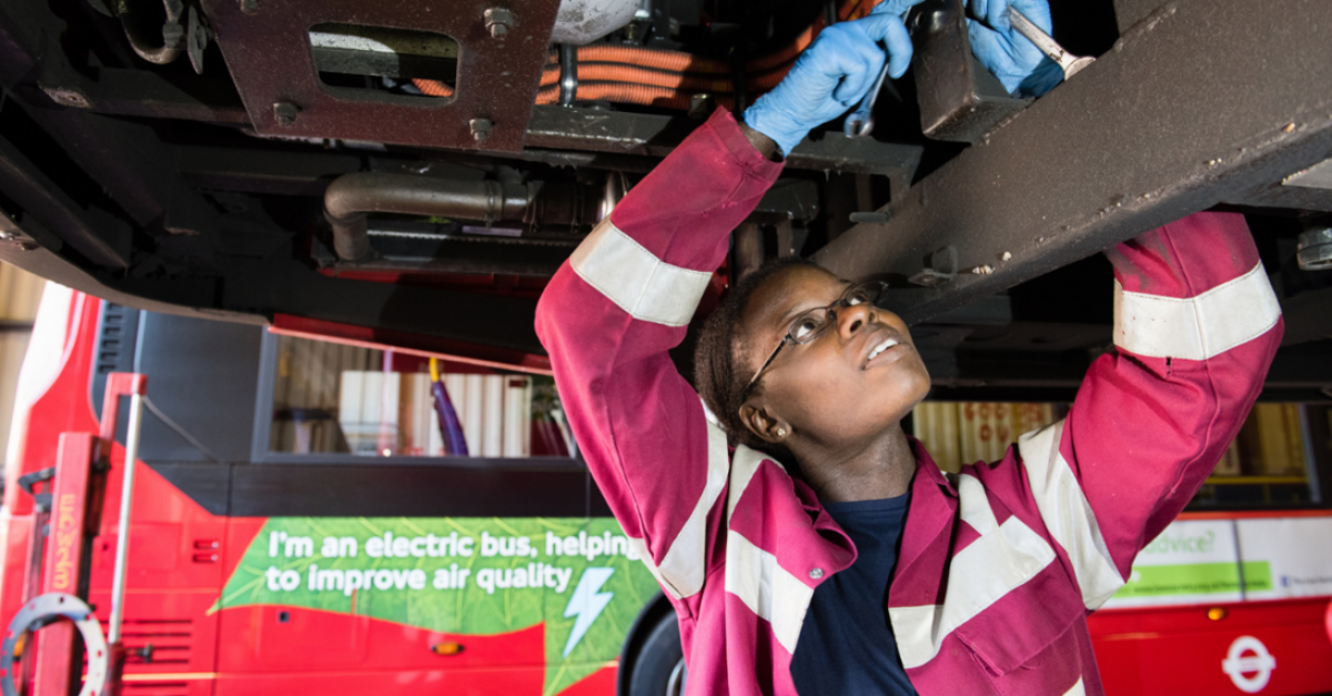 Mechanic working on electric London bus